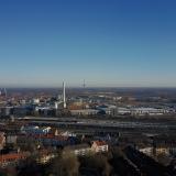 Blick hoch über dem Südpark in Münster in Richtung Osten